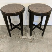 "(2) Nancy Corzine 'Jarrett' side tables with granite tops. 18"" dia. x 27""h. Orig. list: $3,000. each. Modele's price: 950. each"