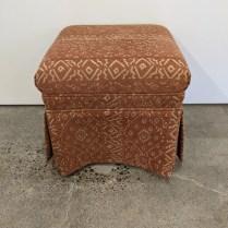 "Custom ottoman with Jack Lenore Larsen fabric, purchased in 2005. 18"" x 18.5"" x 17""h. Orig. list: $1,500. Modele's price: 395."
