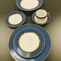 **ITEM NOW SOLD** 48 pc. set Fitz & Floyd 'Renaissance' in cerulean blue. (8) Five-piece place settings, plus soup plates. 495. set