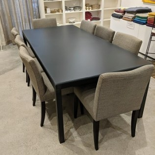 """Room & Board Parsons dining table with black steel base and matte grey glass top (this special glass top is no longer available). Approx. 2-3 years old, custom size. 92""""l x 42""""w x 229""""h. Orig. list: $2,600. Modele's price: 1250."""