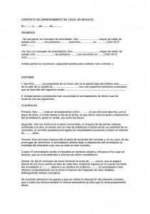 Modelos contrato de arrendamiento de local de negocio for Modelo de contrato de servicio domestico