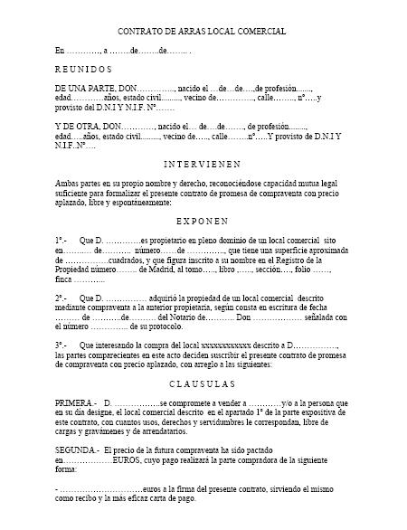 Contrato de arras local comercial modelo contrato for Modelo contrato de trabajo servicio domestico 2015