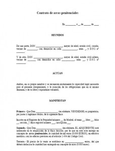 Contrato de arras penitenciales modelo contrato for Contrato plaza garaje