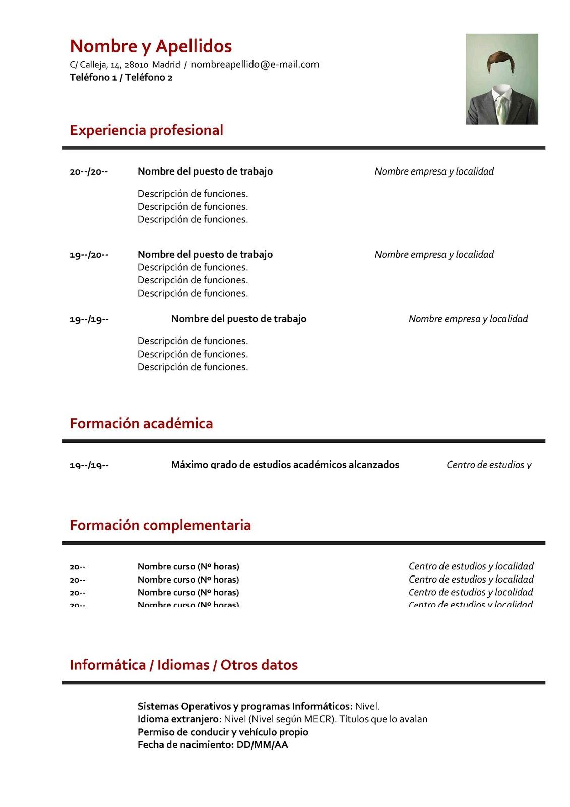 curriculum resumen ejemplo de plantilla de en ingles 01 150x150