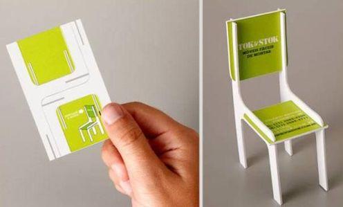 Tarjeta de visita innovadora de muebles
