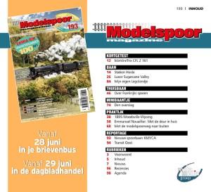 Inhoud Modelspoormagazine 193 - editie juli - augustus 2019