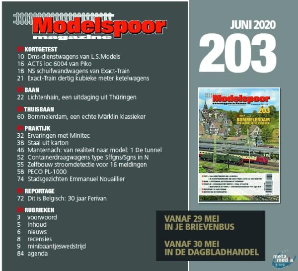 Modelspoormagazine inhoud editie 203 - juni 2020