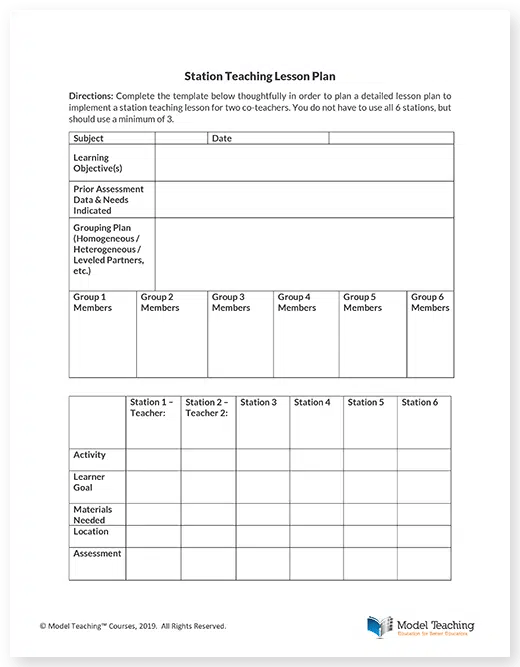 Station Teaching Lesson Plan Template