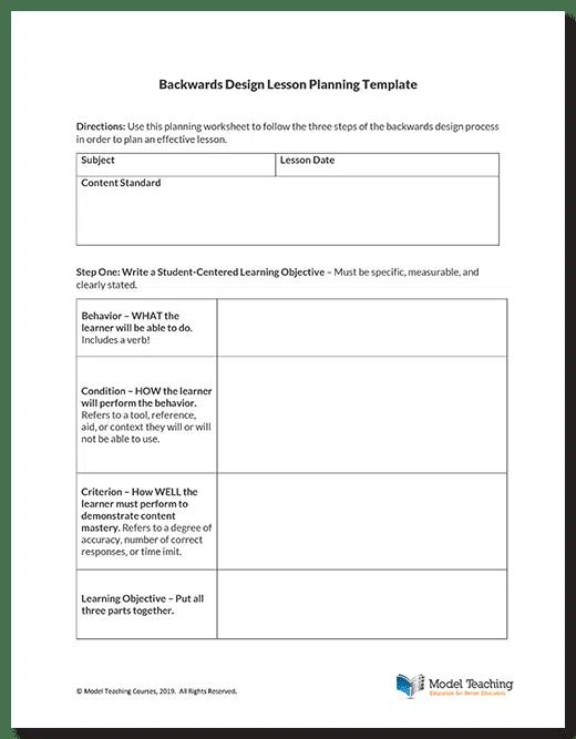 Backwards Design Lesson Planning Template