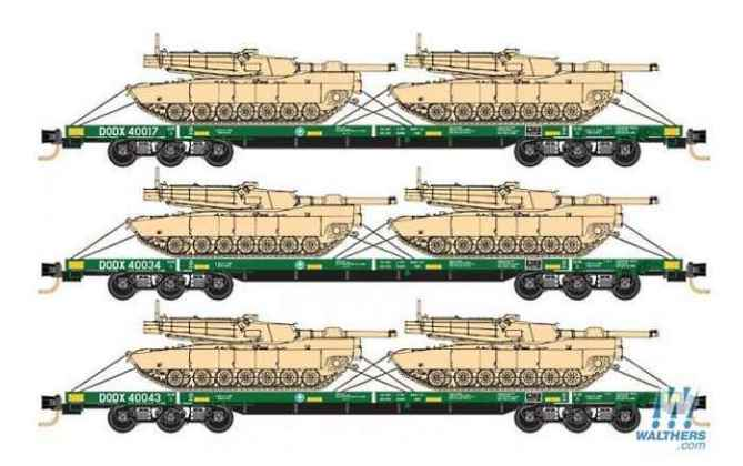 Department of Defense 6-Axle 68' Flatcar w/2 Abrams Tanks 3-Pack from Micro Trains Lines