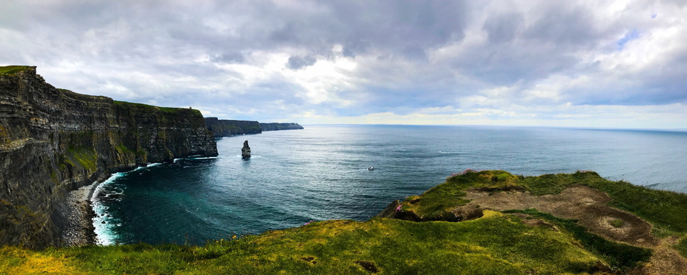 View from the Burren Way at the Cliffs of Moher