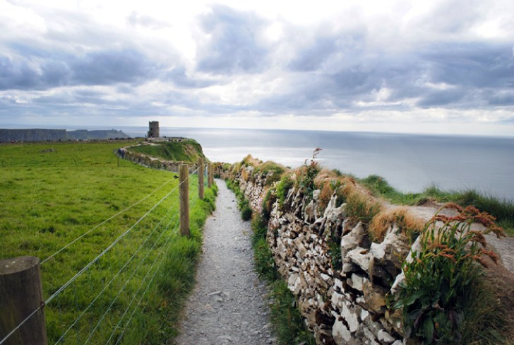 Cliff paths at the Cliffs of Moher in Ireland