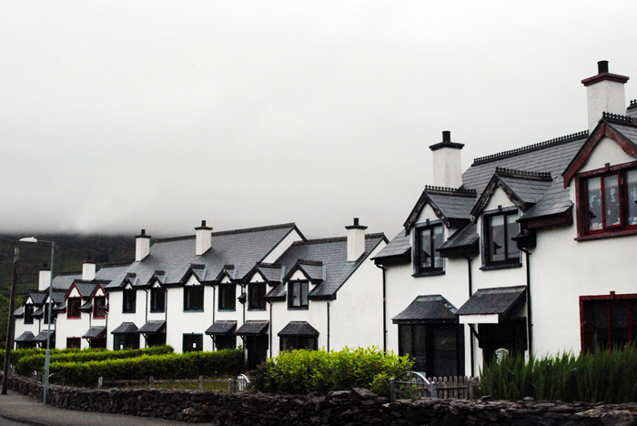 Row of houses in Ring of Kerry in Ireland