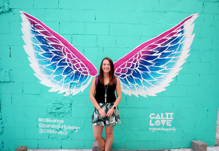 Street art mural of wings in downtown Toronto