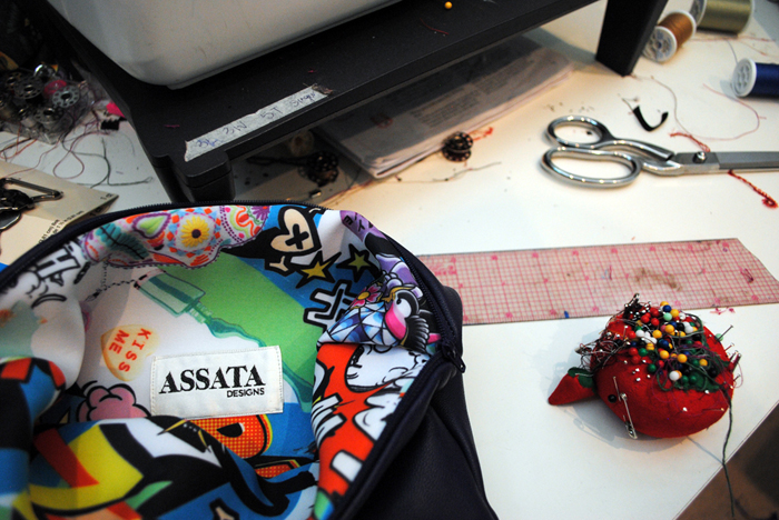 Pop-of-color cross-body bag by Assata Designs of Chicago