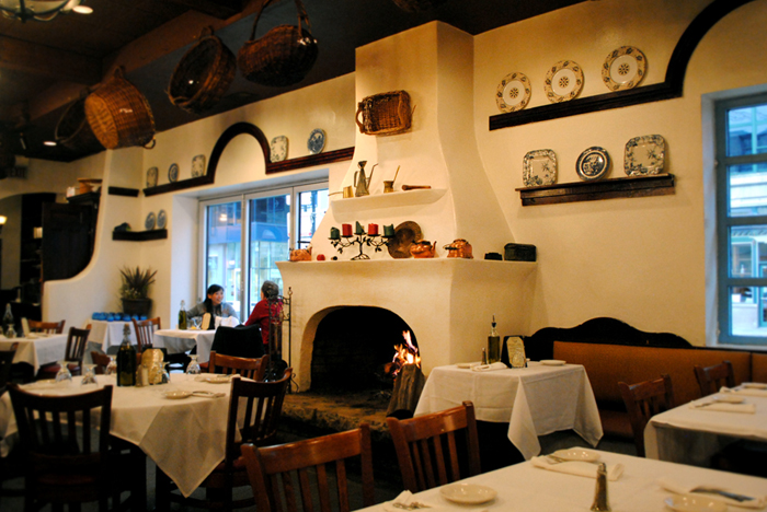 Santorini Greek restaurant with fireplace in Chicago