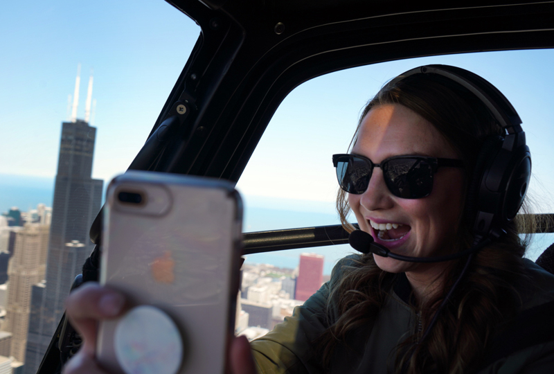 Infinite selfie opportunities at the Chicago Helicopter Experience