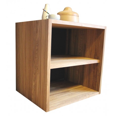 cube de rangement avec etagere en bois de chene massif huile