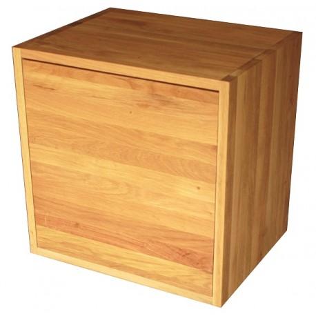 cube de rangement avec etagere et porte en bois de chene massif huile