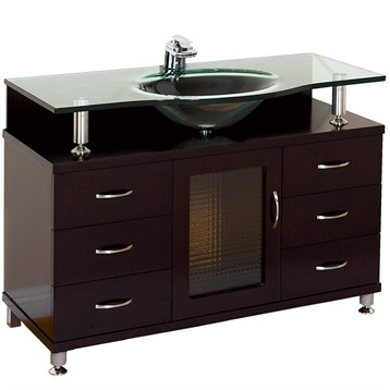 "accara 42"" bathroom vanity with drawers - espresso w/ clear or"