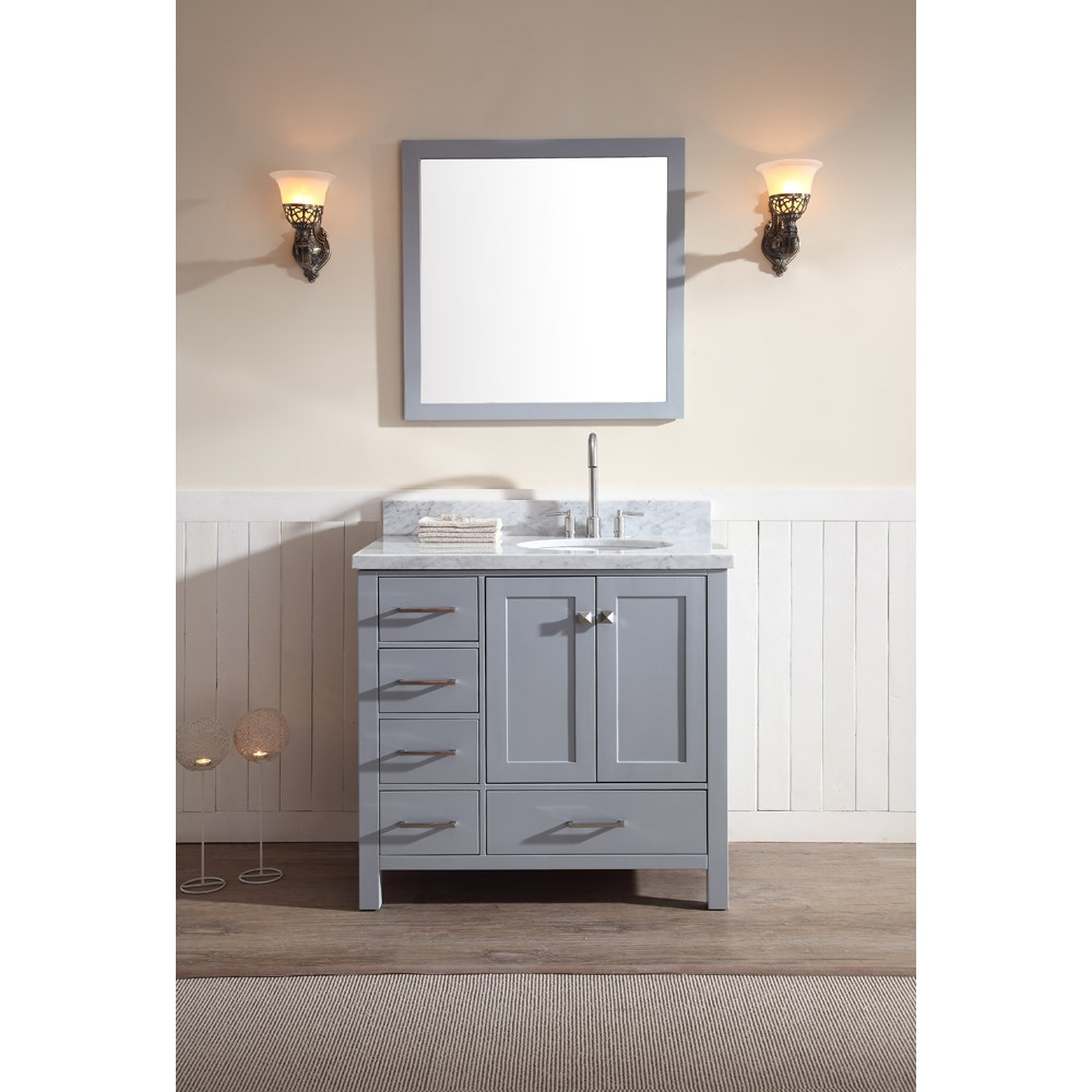 ariel cambridge 37 single sink vanity set with right offset sink and carrera white marble countertop grey