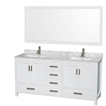 "sheffield 72"" double bathroom vanitywyndham collection - white"