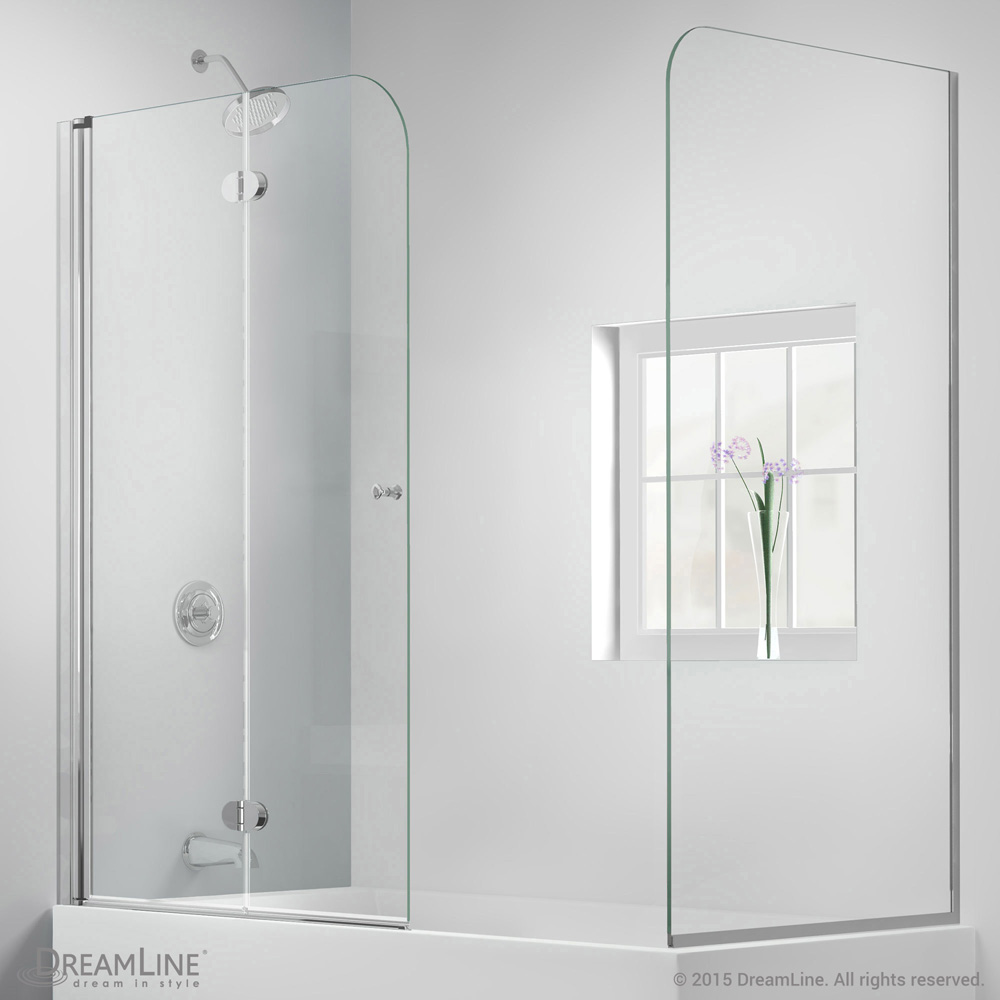 Bath Authority DreamLine AquaFold Hinged Tub Door 56 60 With Return Panel Chrome Finish
