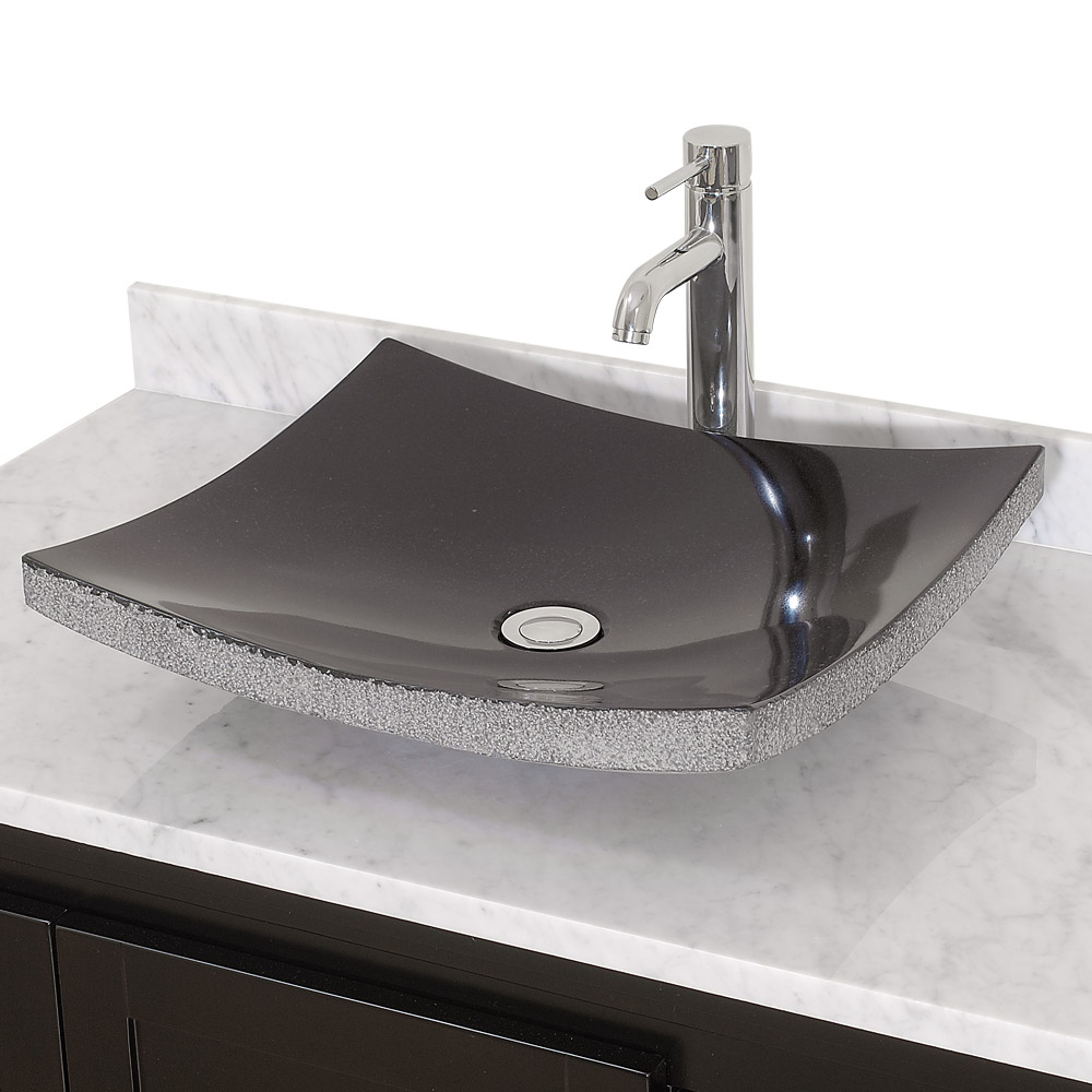 altair vessel sink by wyndham collection black granite