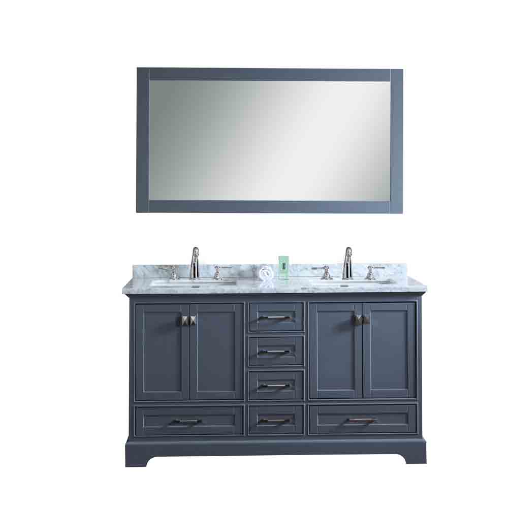 Stufurhome Newport Grey 60 Double Sink Bathroom Vanity