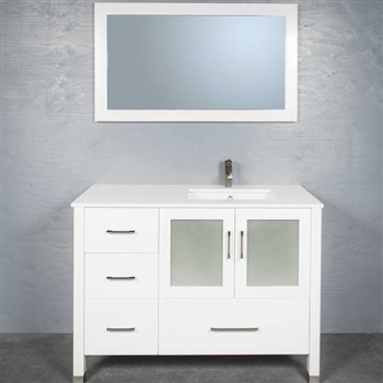 30 Nellie Farmhouse Sink Vanity White Bathroom