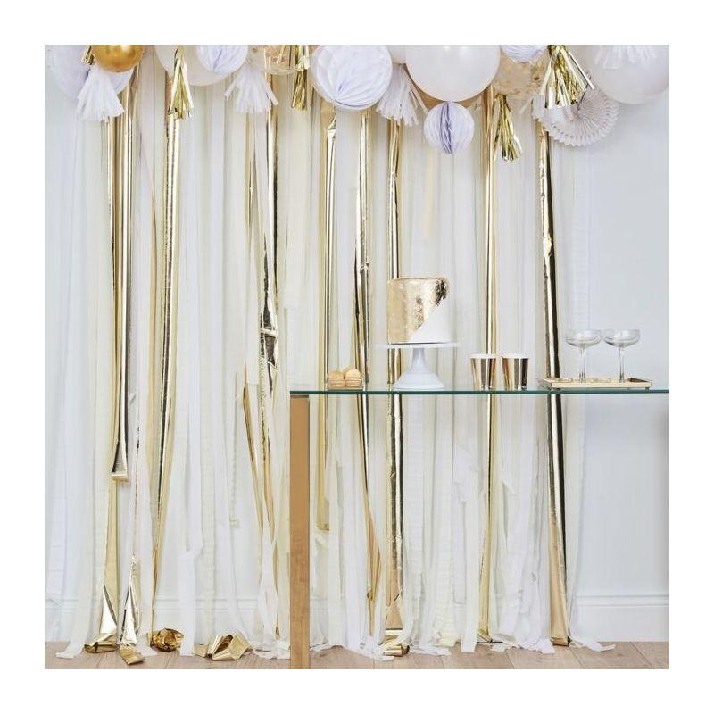 rideau backdrop dore ivoire et blanc