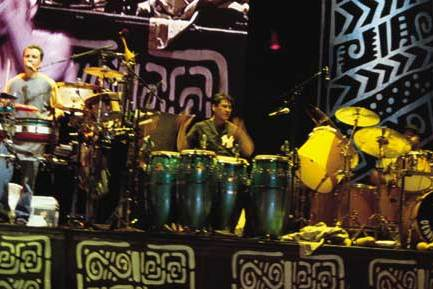 Karl Perazzo, Dennis Chambers and Raul Rekow with Santana