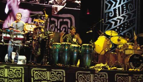 Karl Perazzo, Dennis Chambers and Raul Rekow with Santana