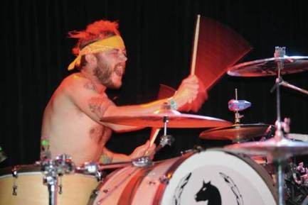 Chris Tsagakis ( RX Bandits drummer) photographed in Pomona at the Glass House for Modern Drummer on 04/23/10