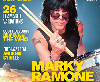 February 2014 Issue of Modern Drummer Featuring Marky Ramone