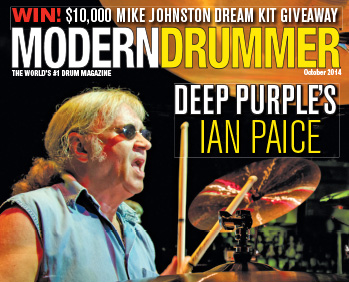 October 2014 Issue of Modern Drummer featuring Ian Paice of Deep Purple