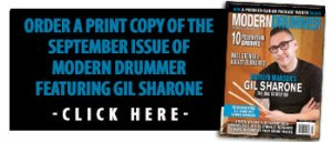 Get a print copy of the September 2015 Issue of Modern Drummer featuring Gil Sharone