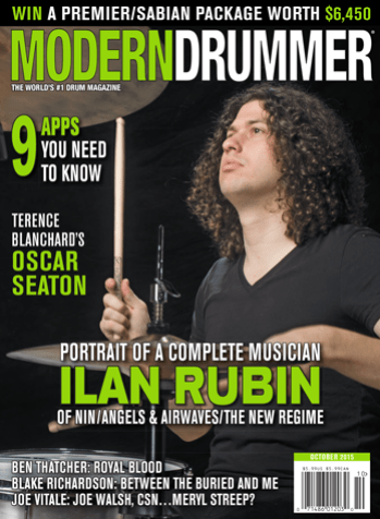 October 2015 Issue of Modern Drummer featuring Ilan Rubin