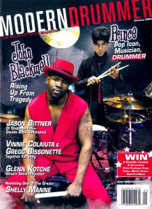 rince and John Blackwell on the cover of the  January 2005 Modern Drummer