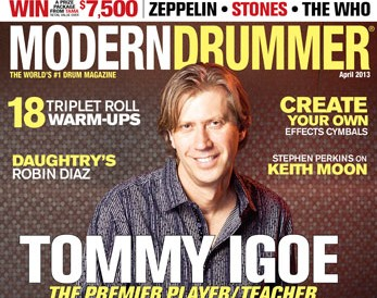 April 2013 cover of Modern Drummer magazine featuring Tommy Igoe
