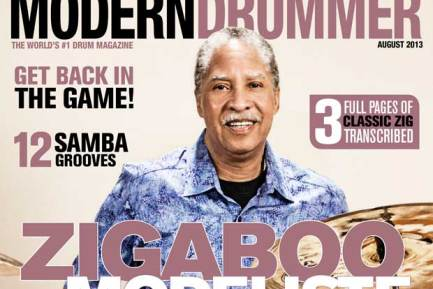 August 2013 Issue of Modern Drummer featuring Zigaboo Modeliste