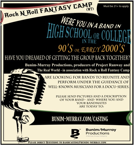 Casting Call For 90s/Early 2000s Rock Bands