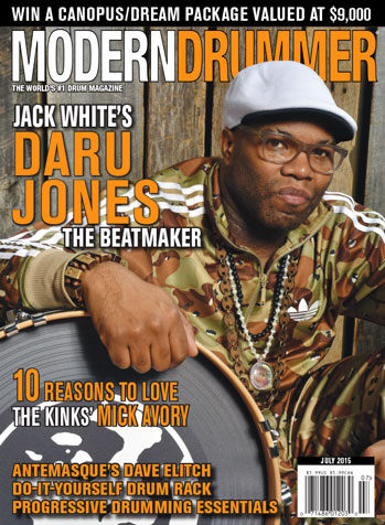 July 2015 issue of Modern Drummer featuring Daru Jones