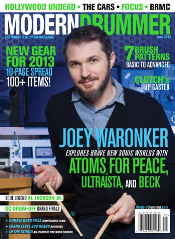 June 2013 cover of Modern Drummer magazine featuring Joey Waronker