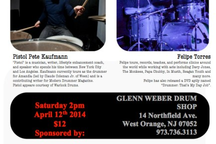 Modern Drummer Contributor Pistol Pete Kaufman and Felipe Torres to Give Drum Clinic in New Jersey