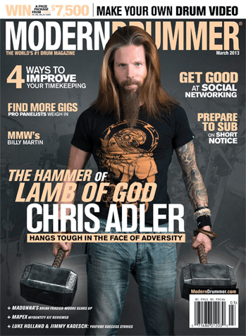 March 2013 Cover of Modern Drummer magazine featuring Chris Adler