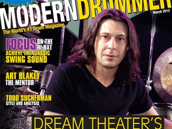 Mike Mangini on the March 2012 Cover of Modern Drummer Magazine