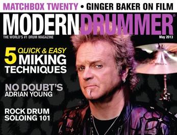 May 2013 cover of Modern Drummer magazine featuring Joy Kramer