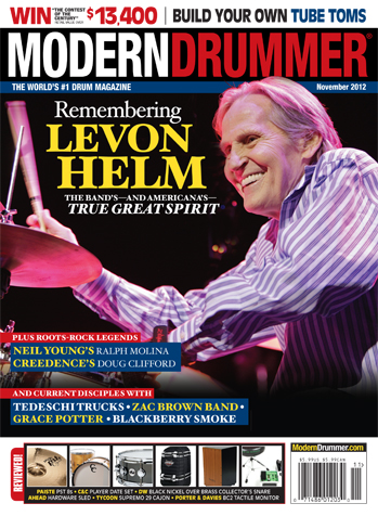 November 2012 Issue of Modern Drummer magazine featuring Levon Helm