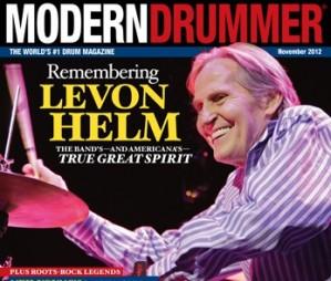 November 2012 Cover of Modern Drummer magazine featuring Levon Helm